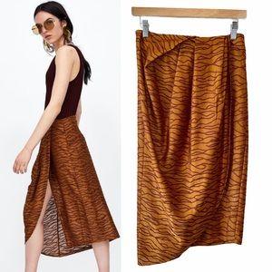 Zara Pleated Jacquard Caramel Faux Wrap Skirt